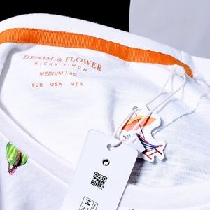 "Denim & Flower Shirts - Denim & Flower ""Fast Food"" Cotton T-shirt size M🦅"